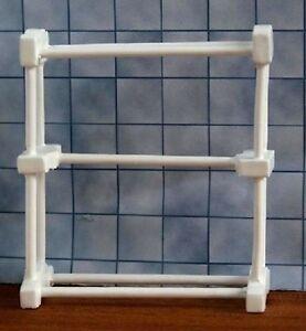 Small White Towel Rail, Dolls House Miniature, Bathroom Accessory