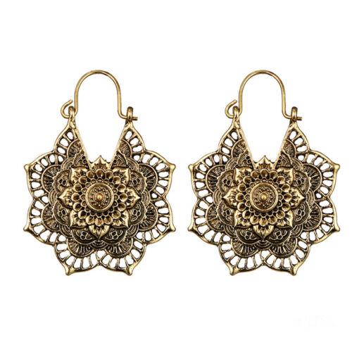 Antique silver Gypsy Indian Tribal Ethnic Hoop Dangle Mandala Earring Boho US