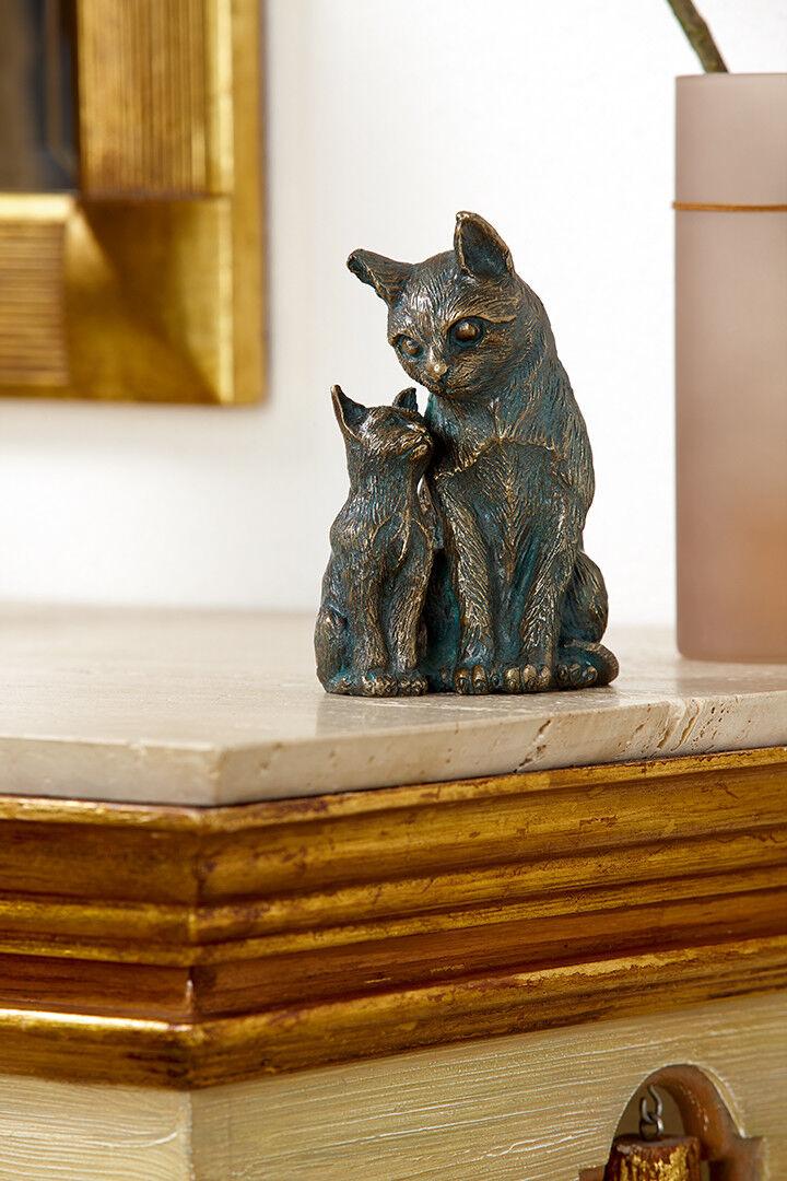Bronze-Figur Skulptur Schmusekatzen 16 cm hoch