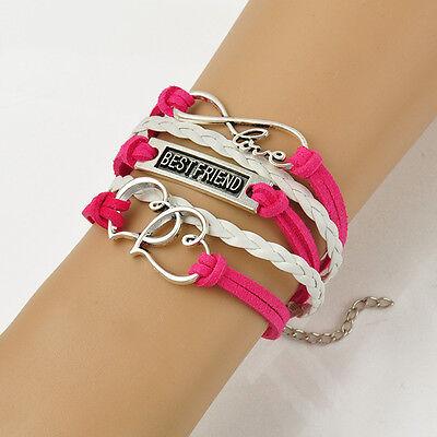 Red & White Handmade Wool Strings Silver Hearts Infinity Love Friend Bracelet