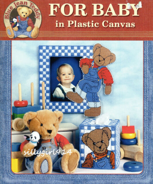 """BLUE JEAN TEDDY FOR BABY""~Plastic Canvas PATTERN BOOK ONLY~7 Designs~SEE PICS"