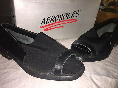 6cce1466b4bff Details about AEROSOLES Apple Pie Black Leather Stretch Wedge Sandals 9.5 Open  Toe Shoes New