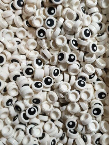 100 x Lego White Round 1x1 Tile With Eye Open