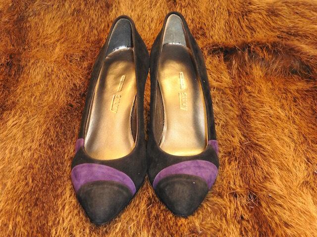 TOLL SCHUHE PUMPS SILVY LEDER WILDLEDER black black black UND purple VINTAGE 1980 NEU T.36.5 274f62