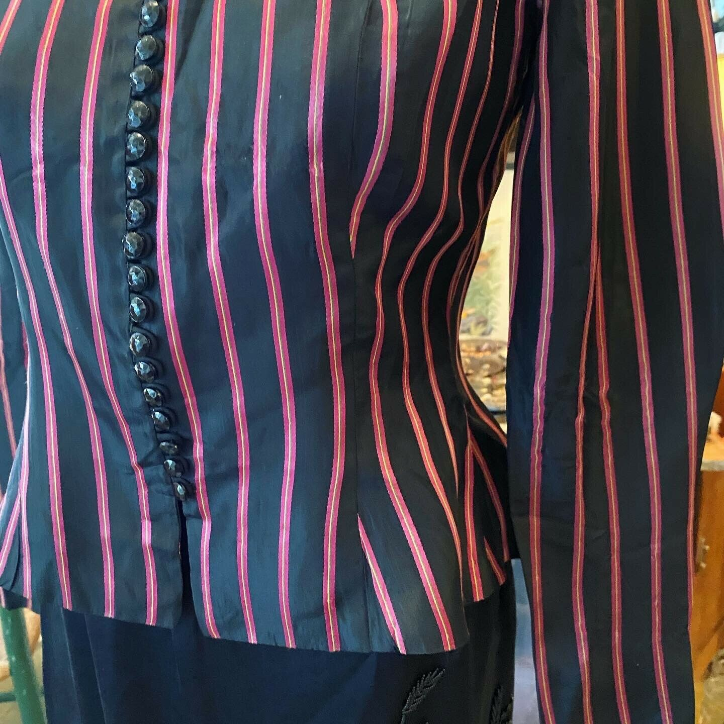 Vintage Rare Ceil Chapman  satin  stripe Fitted A… - image 8