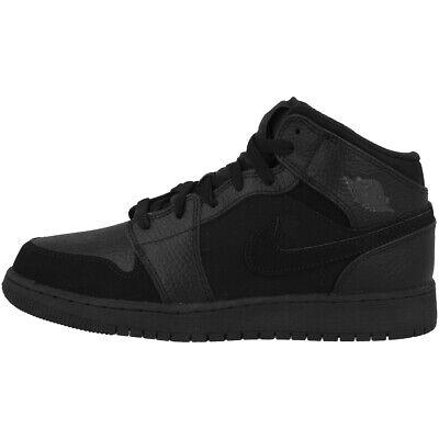 Nike Air Jordan 1 Mid Gs Schuhe High Top Freizeit Sneaker Black Grey 554725-064 Entlastung Von Hitze Und Sonnenstich