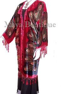 Duster Opera Beaded Maya Velvet Matazaro Kimono Coat Red Peacock Multi Silk tBhdQxsrC