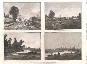 Cardiff-Wales-Antique-print-Genuine-1886-Landscape-Church-Sandby-Farming-Art