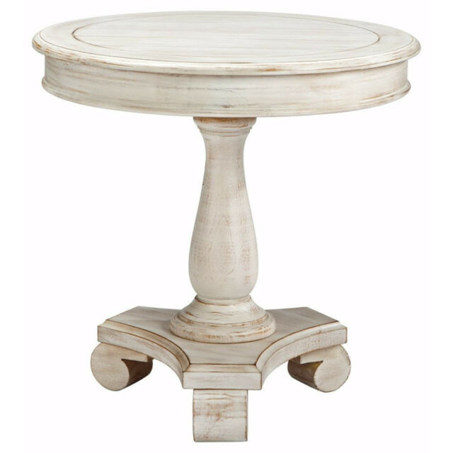 Round White End Table Cottage Style Accent Wood Furniture Entry Way Living Room