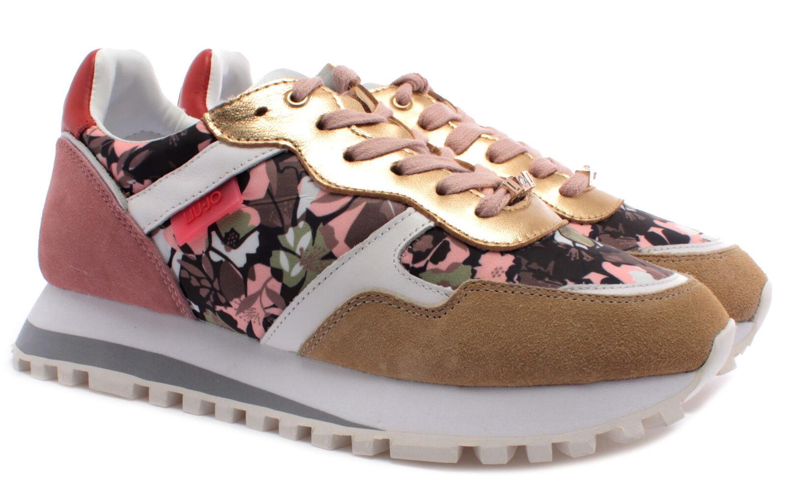 Damen Turnschuhe LIU JO Milano Wonder 20 Flower Wildleder Fabric Beige