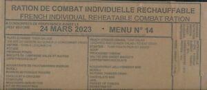 DESTOCK 1 ration de combat francaise menu au choix DDM 2023 / 2024 RCIR--MRE