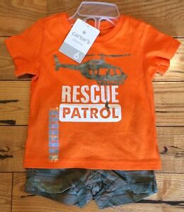NWT-Baby-Boys-CARTERS-2-Piece-Orange-Top-Camo-Shorts-Size-6-Months-24
