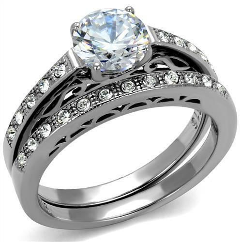 1.28 carat  Engagement Ring Set CZ 2 pc Vintage Look Milgrain Stainless Steel