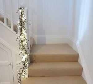 Matrimonio-o-Natale-Ghirlanda-Bacche-Rosso-Bianco-Free-Set-Luci-Batteria-Lungo-1-4m