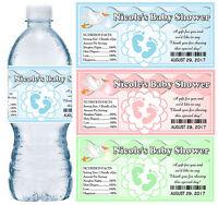 30 Personalized Baby Shower Water Bottle Labels Glossy Waterproof Ink