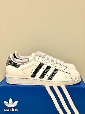 NEW adidas Superstar Originals Womens Shoes White Black Python FV3294 SIZE 8