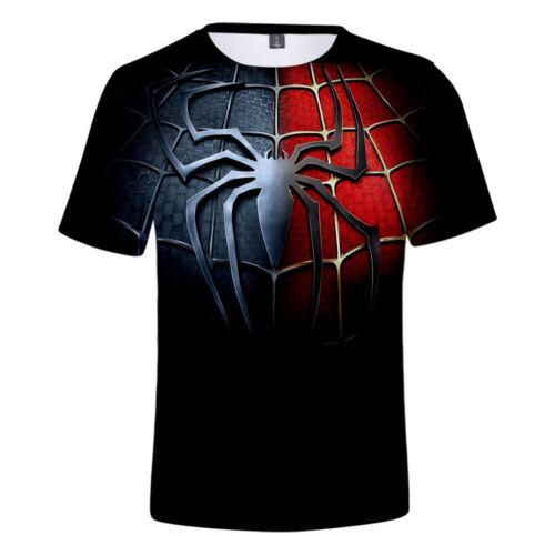 Spiderman Mens Polyester T-shirt 3D Print Tops Tee Short Sleeve Crew Neck Summer
