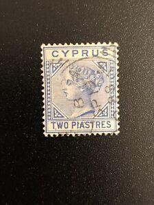 Cyprus-Sc-13-Used-Stamp-1881-2p-ultramarine-QV