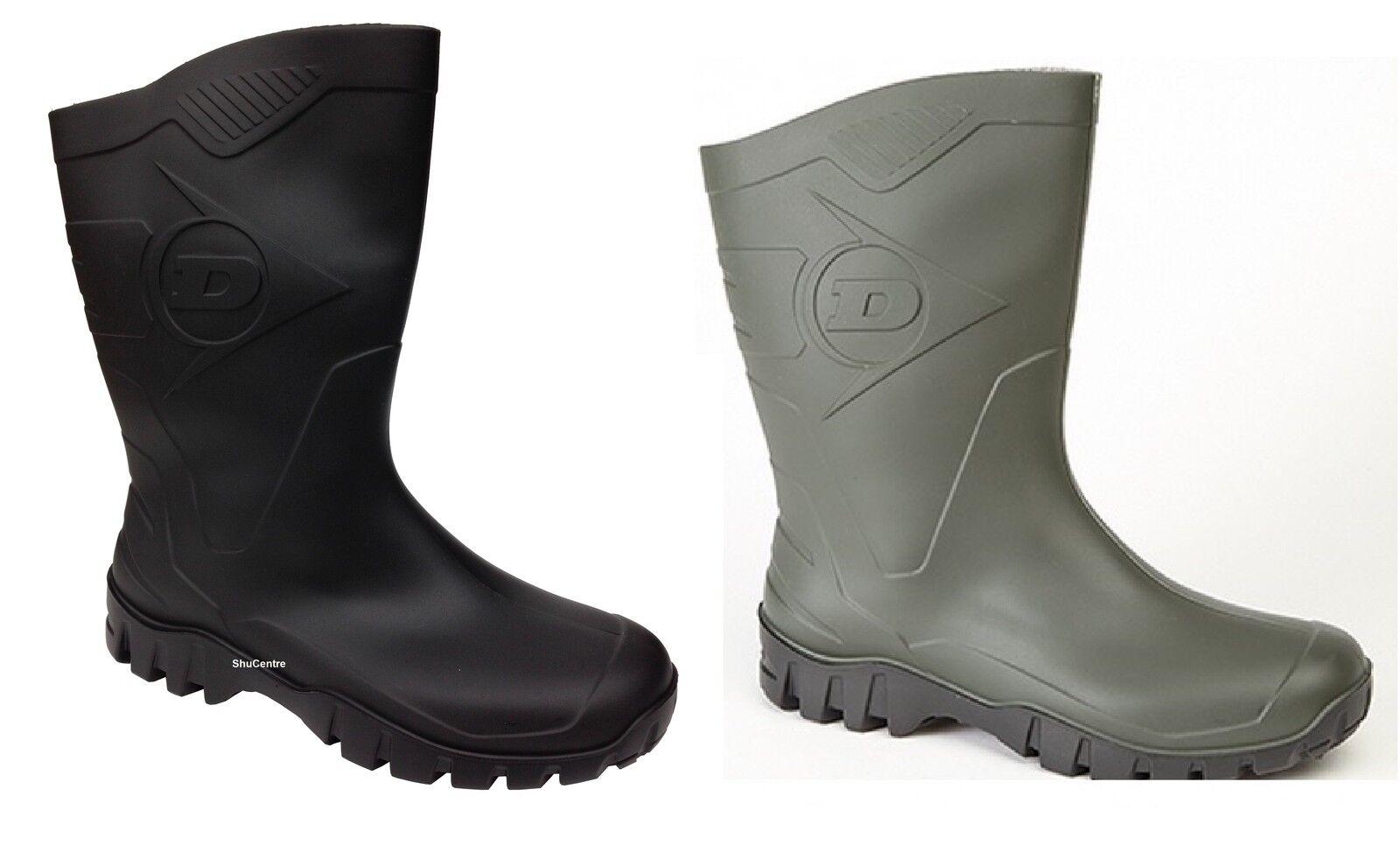 Dunlop HEVEA Unisex Welly Wellington Half Length Wide Calf Wellington Welly Boots Wellies Black 013ef1