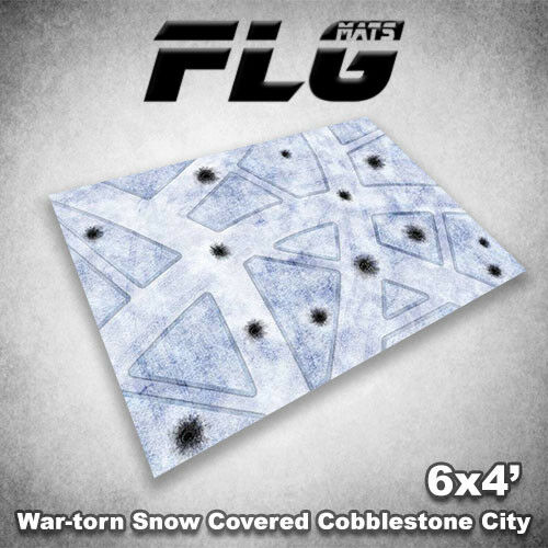 FLG Mats  War-Torn Snow Cobblestone City 6x4' High Quality Neoprene Gaming Mat