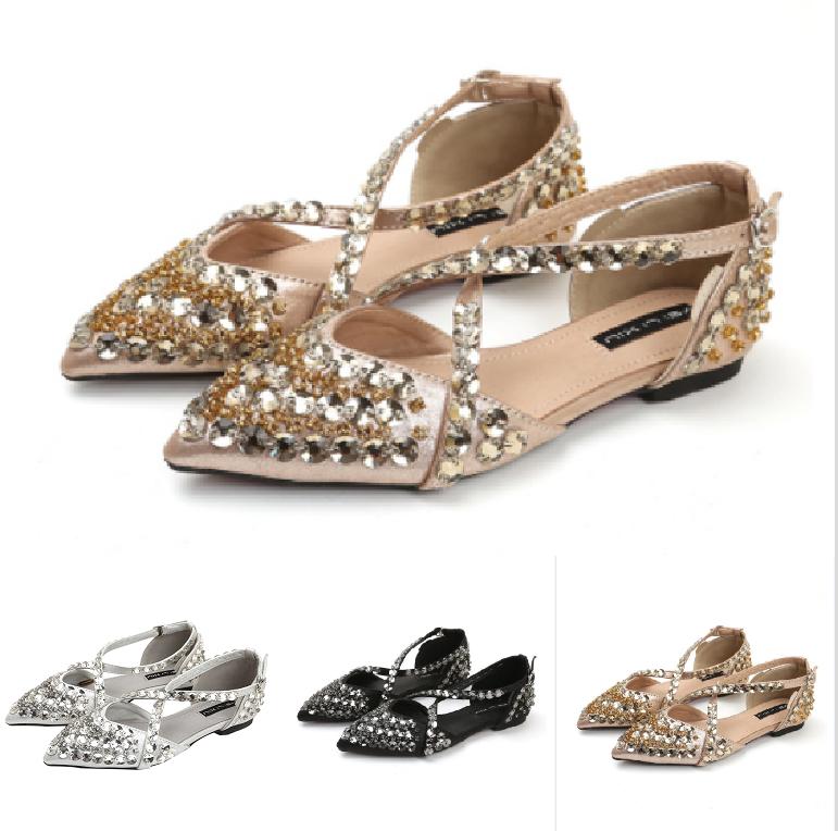 Pour Femme Doux Doux Doux brillant strass bout pointu et plat sexy escarpins bride cheville Mocassin Chaussures  Envoi gratuit pour toutes les commandes