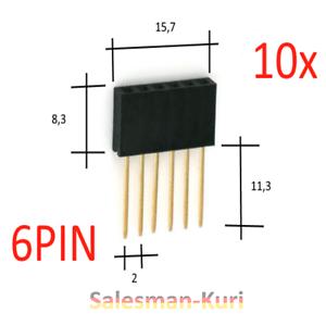 DE STOCK 10 PCS 6pin 2,54 mm 11 mm prise connecteur Douilles Barre précisément pendant