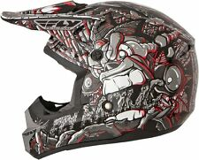FLY KINETIC YOUTH JUNGLE KIDS HELMET - GREY/RED - M - MEDIUM - MOTOCROSS MX