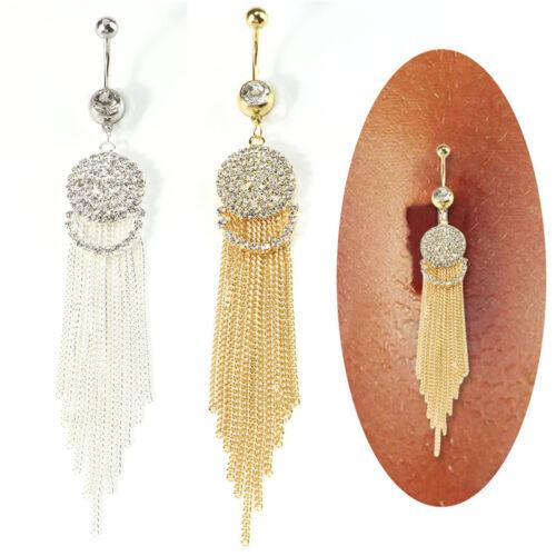 Kristall lange Quaste Ring Bauchnabel Bauchnabel Ring Bar Piercing JewelryTO ms