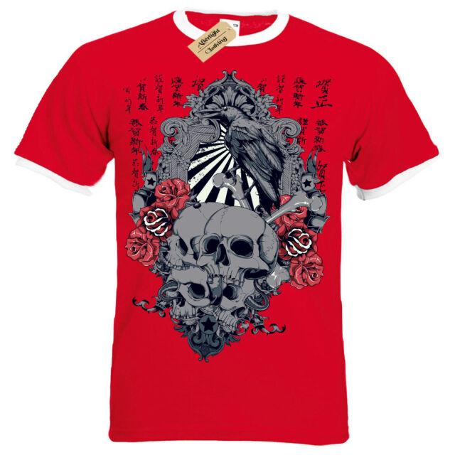 Sunrise T-Shirt japanese skulls roses crow chinese gothic Short Sleeve Baseball