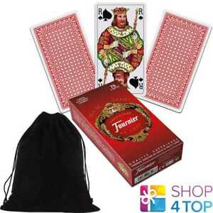 FRENCH-TAROT-DECK-FOURNIER-78-PLAYING-CARDS-RED-JEU-DE-WITH-VELVET-BAG-NEW