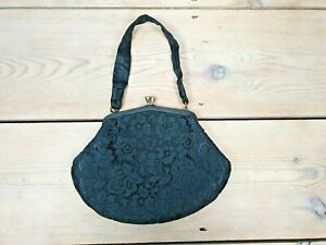 Vintage-RFC-Lace-Clutch-Handbag-Black-Evening-Bag-Made-in-England