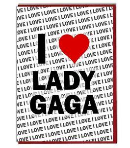 Carte de Vœux-Carte d/'anniversaire-I Love Lady Gaga