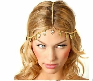 VTG DECO Gold Chain Goddess LEAF Roman Greek Festival Hair Jewel ... de00dde613b