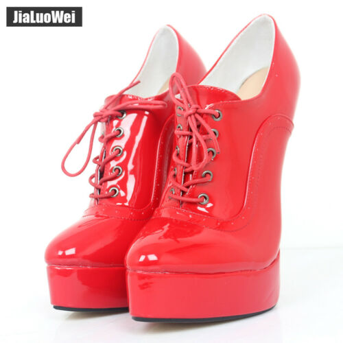 Women/'s Pointed Toe Lace Up High Top Stiletto High Heel Platform Ankle Boots G41