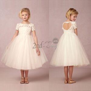 af3d6740ad79 Ivory  White Flower Girl Dress Communion Confirmation Junior Wedding ...