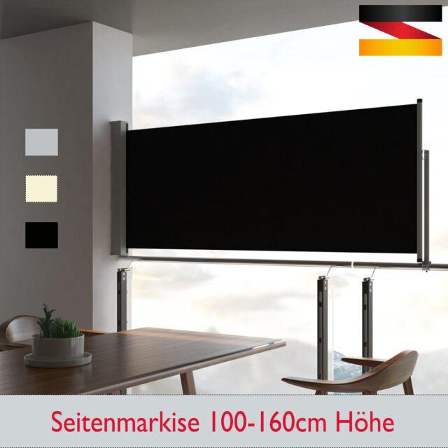 vidaXL Seitenmarkise Ausziehbar 100x300 cm Grau Sichtschutz Windschutz Markise