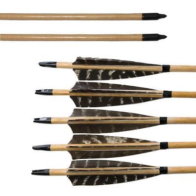 """12PCS 32/"""" Arrows Carbon Arrows with 4/"""" Turkey Feather SP400 Archery Hunting"""