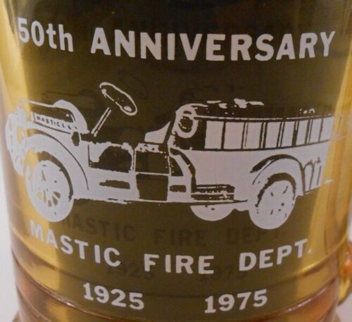 Mastic Fire Dept Long Island NY 50th Anniversary Heavy Amber Glass Handled Mug