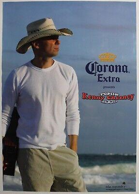 HAT TOUR 2009 KENNY CHESNEY WHITE SHIRT BEACH CORONA EXTRA POSTER