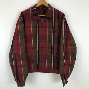 RARE-Vintage-polo-ralph-lauren-Plaid-Harrington-Zip-Up-Jacket-Size-Large-L-Red
