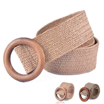 Elastic Straw Rattan Waist Band With Wood Buckle Women Belts For Dresses