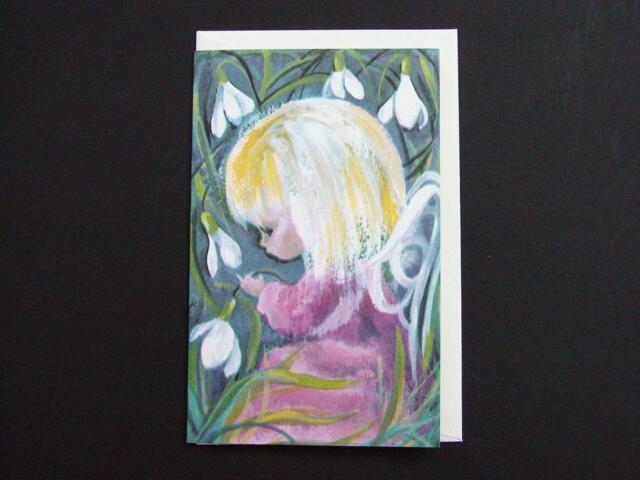 #H76- Vintage Unused Xmas Greeting Card Sweet Angel & Snow Drop Crocus Flowers