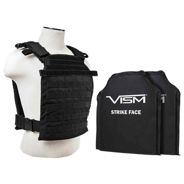 VISM BLK Fast Plate Carrier & 2 IIIA 11x14  Shooters Cut SOFT Balllistic Panels