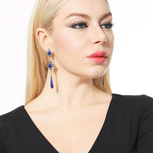 Boucles d/'Oreilles CLIP ON Chandelier Lapis Lazuli Goutte Long Email Bleu A23