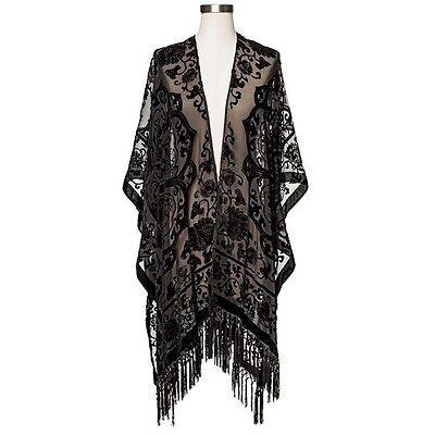 Mossimo Supply Co. Velvet Burnout Fringe Embroidered Kimono Jacket