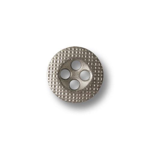 10 sehr kleine matt silberfb Vierloch Metallknöpfe mit Gitter Muster 5815sm