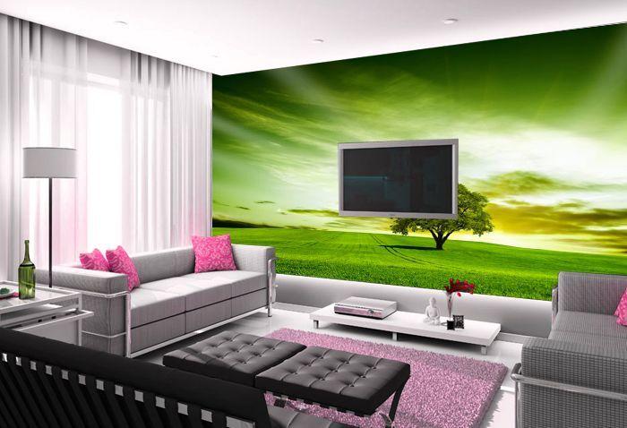 3D Green Sky Tree Paper Wall Print Wall Decal Wall Deco Indoor Wall Murals