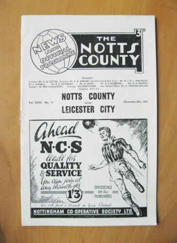 NOTTS COUNTY v LEICESTER CITY 19511952 VG Condition Football Programme