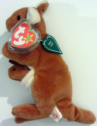 POUCH™ THE KANGAROO WITH BONES TAG  TY™ 4TH GEN BEANIE BABY 1996 RETIRED ERRORS