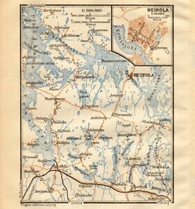 Heinola Pijnne Tavastia Finland BAEDEKER 1912 old antique map
